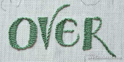 Green Hand Embroidered Lettering