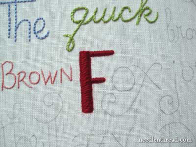 hand embroidery lettering and text in satin stitch and chain stitch