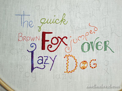 Hand Embroidered Lettering on www.needlenthread.com