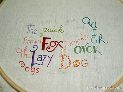 Hand Embroidered Lettering and Text with Treenway Silk
