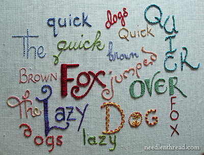 Hand Embroidered Lettering Sampler