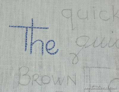Backstitch used in lettering