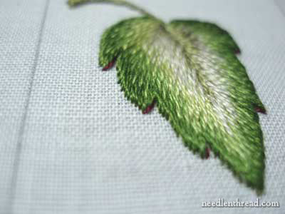 Long & Short Stitch embroidered leaf