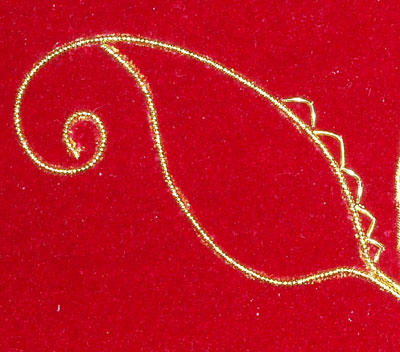 Beginning the Goldwork on the Beetle Wing Project