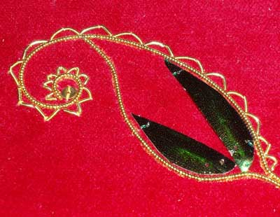 Goldwork Embroidery and Beetle Wings