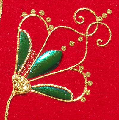 Beetle Wing and Goldwork Embroidery