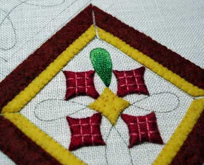 Hand Embroidered Christmas Ornament, 2008, by Mary Corbet