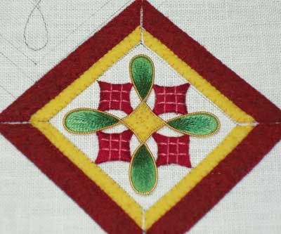 Hand Embroidered Christmas Ornament in Silk and Goldwork