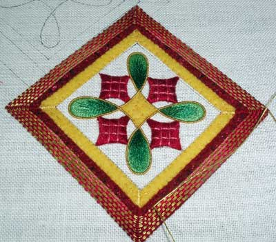 Hand Embroidered Christmas Ornament, 2008, in silk shading and goldwork