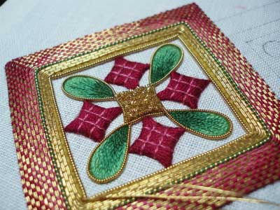 Goldwork and Silk Hand Embroidered Christmas Ornament
