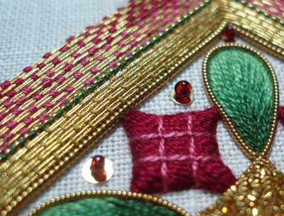 Hand Embroidery: Goldwork and Silk Christmas Ornament