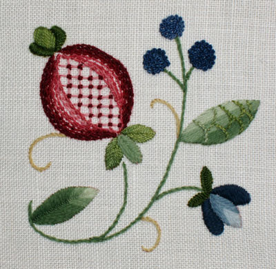 Crewel Embroidery Pomegranate