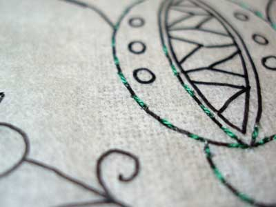 Transferring An Embroidery Pattern Using Tracing Paper
