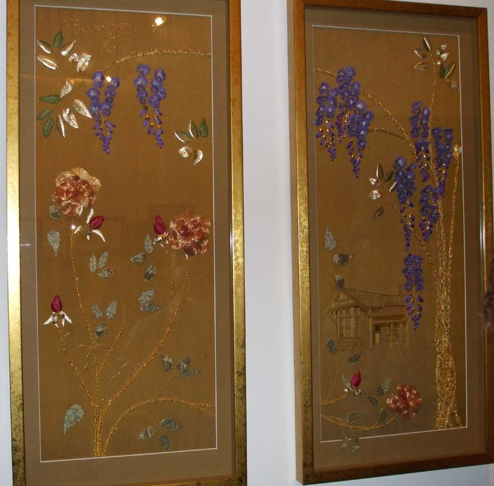 Goldwork and Stumpwork Panels by Alison Cole on display at Warrnambool Art Gallery, Victoria
