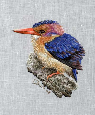 Thread painting: bird by Trish Burr, worked in one strand of DMC / Anchor cotton