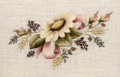 From Trish Burr's new book on Crewel and Surface Embroidery, worked in a combination of wools, silk, and cotton
