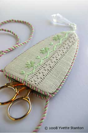 Merezhka Poltavska: Ukrainian Drawn Thread Embroidery scissor sheath by Yvette Stanton
