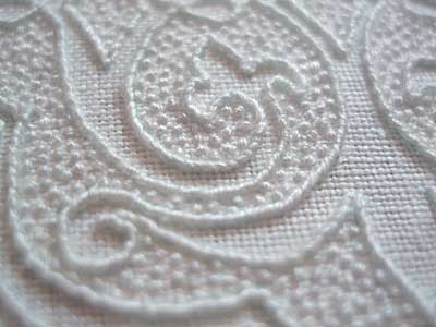Whipped Backstitch Outline on Whitework Embroidery