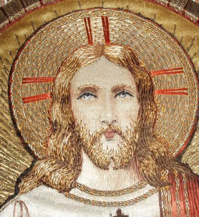 Ecclesiastical Embroidery: Sacred Heart image worked in gold metal threads and silk