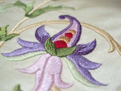 Hand Embroidered Stole in Silk Thread on Silk Fabric