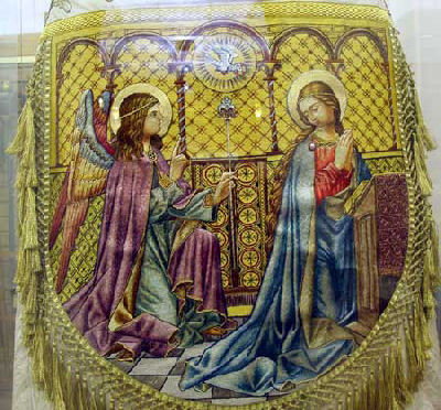 Hand embroidered cope, Annunciation scene