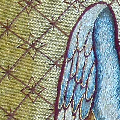 Hand embroidered cope, Annunciation scene detail