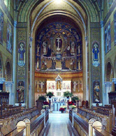 Interior of Benedictine Chapel decorated in the Beuronese style of art