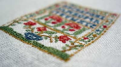 Hand Embroidery on a Little Sampler
