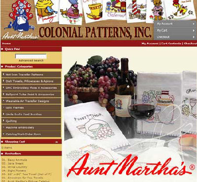Colonial Patterns website offers a full range of Aunt Martha Iron-on Embroidery transfers