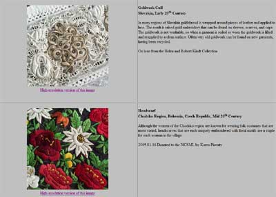 Czech & Slovak Textile Exhibit: Embroidery, Lace, Goldwork, and Leather Goods