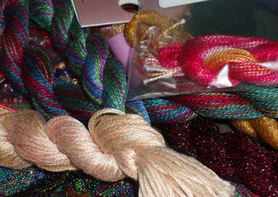New Embroidery Stash Supplies: Fabric, Threads, Beads, Ribbons