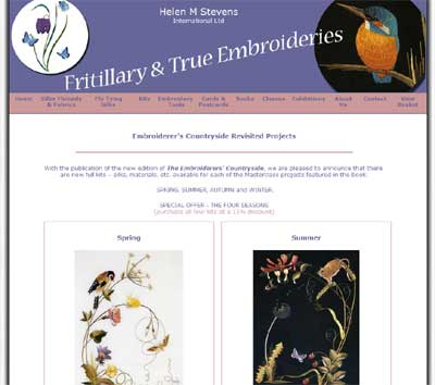 Helen M. Stevens Embroidery Kits available on Fritillary