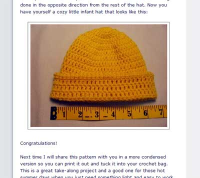 Tutorial for crocheted baby hat from Hooked on Needles