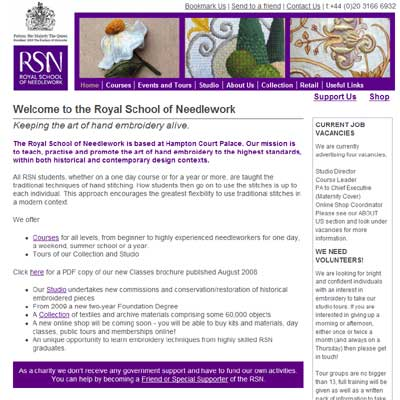 Royal School of Needlework Website