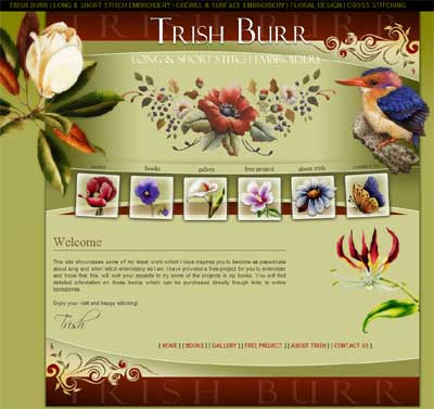 Trish Burr's Long and Short Stitch Embroidery Website