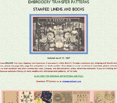 Vintage embroidery transfers, patterns, stamped linens, and books page