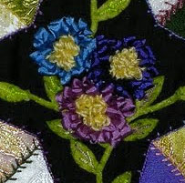 Allie's in Stitches punchneedle ribbon flowers