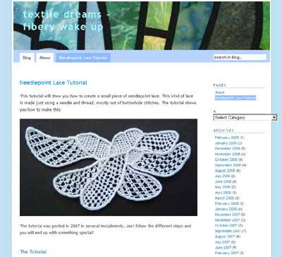 Needlepoint Lace Tutorial on Textile Dreams website