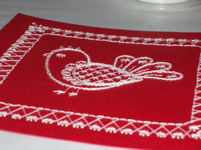 Hand Embroidered Card: a Schwalm-ish Chicken on Red Cardstock