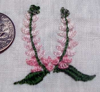 flowers worked in buttonhole stitch with floche
