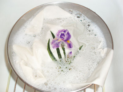 Washing a piece of hand embroidery