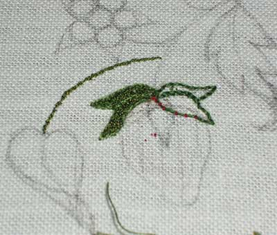 Strawberry and vine embroidered with Gilt Sylke Twist and other threads