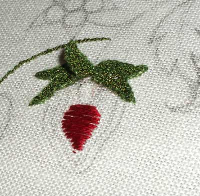 Embroidered Strawberry Pattern with Gilt Sylke Twist