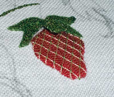 Strawberry Embroidered with Gilt Sylke Twist