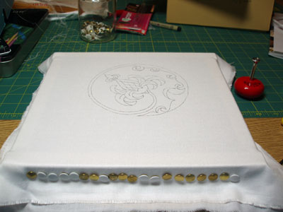 Goldwork Project Underway: Goldwork Pomegranate