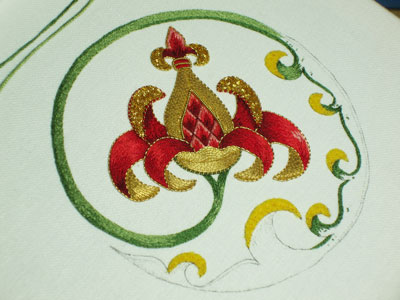 Goldwork Embroidery Project: Progress on the Stem