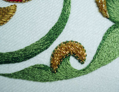 Goldwork Pomegranate Project: Finishing the Silk Embroider and the Chip Work on the Stem