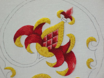 Goldwork Embroidery: Stylized Pomegranate