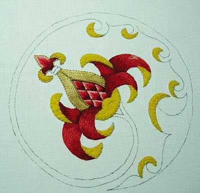 Goldwork Embroidery Project: Chip work with Bright Check Purl