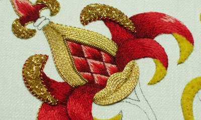 Goldwork Embroidery Project: Filling with Smooth Passing Thread